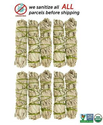 White Sage Cali Smudge Stick SET OF 10 Certified Organic Made in USA