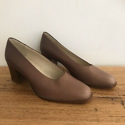 🍁 BALLY brown Tan Mary Jane Court Shoes Heels Sz 38 7 Pumps Classic
