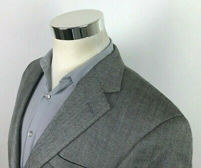 Gianfranco Ruffini Mens 36R 38 Gray Herringbone 2 Button Sport Coat Blazer Silk