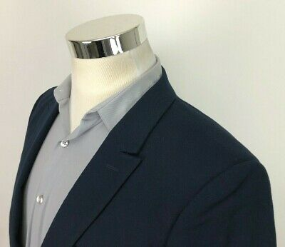 Topman Mens 40 38 Navy Blue Sport Coat 1 Button Blazer Modern Jacket Peak Lapels