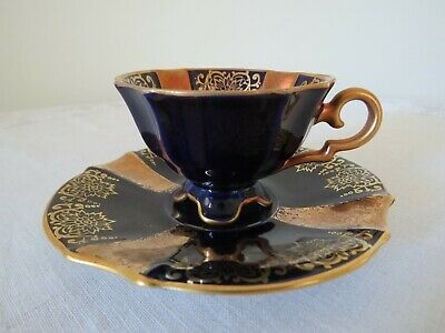 """Alka Germany """"Revue"""" coffee cup & saucer, cobalt blue with 22K gold trim"""