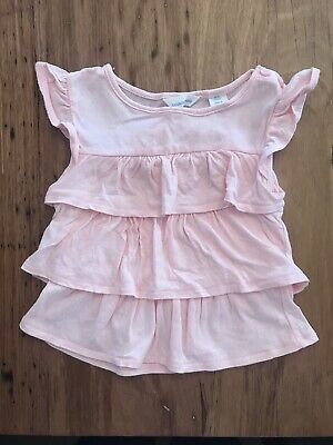 Country Road Baby Girls Size 000 0-3 Months Singlet Top Tshirt EUC Pink Ruffle