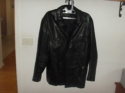 """""""ATELIER Classic"""" Black Leather Jacket, Size L, Made In Australia, Goat Skin"""