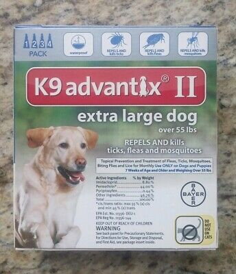 GENUINE BAYER K9 ADVANTIX II FLEA & TICK CONTROL FOR DOGS OVER 55 lbs - 4 PACK
