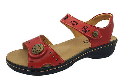 Ladies Shoes BantryBay Sabara Sandal Red Leather Upper Hook and loop Size 39/8