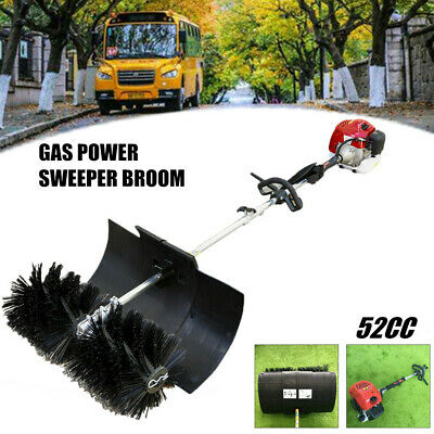 GAS POWER HAND HELD WALK BEHIND SWEEPER BROOM 52cc TURF LAWNS DRIVEWAY CLEANING