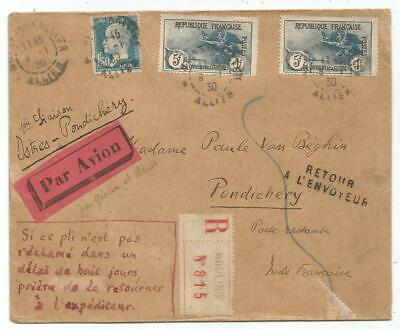 France N°232X2+181 Lettre Cover Avion Moulins 1930 Istres Pondichery India