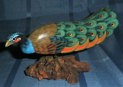 Hand Carved Wooden Peacock sculpture hand painted, driftwood base Nicely Done