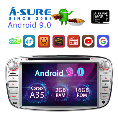"""7"""" IPS Android 9.0 DVD GPS Navi BT WLAN RDS Ford Mondeo MK4 Focus S-Max Galaxy"""