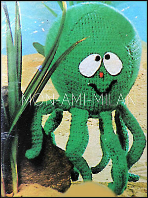 """Octopus Knitting Pattern Copy To Make Sea Life Oceanic Soft Cuddly Toy 7/"""" Wide"""