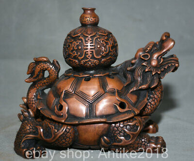 "6"" Chinese Red Bronze Feng Shui Dragon tortoise Turtle incense burner Censer"