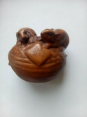Chinese hand carved Netsuke , fruit wood beautifully carved,date unknown.