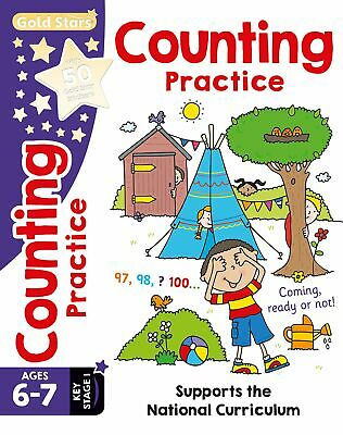 Gold Stars - COUNTING PRACTICE - Ages 6-7 with 50 Gold Star Stickers *FREE P&P*