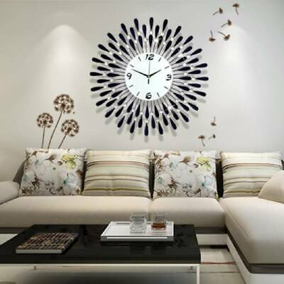 3D Clear Diamante Black Sunflower Metal Spiked Wall Clock Beaded Jeweled