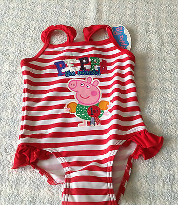 girls Peppa Pig holiday swimsuit cossie red white stripey winner age 2-3 yrs NEW