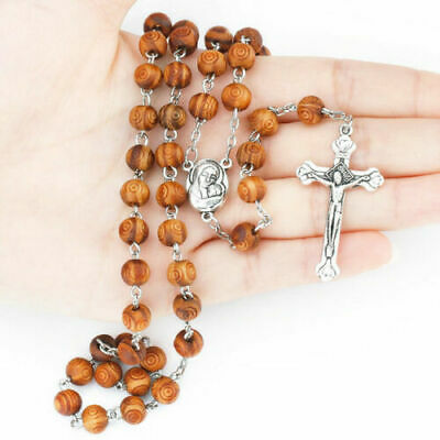 Our lady crucifix cross catholic wooden prayer bead rosary necklace