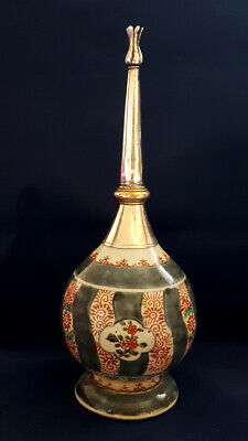 Antique Ottoman Turkish silver & Chinese porcelain rosewater sprinkler