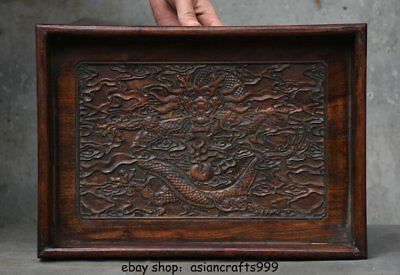 """14 """"seltene chinesische Huanghuali Holz Dynastie Palace Dragon Plate Tray Dish"""