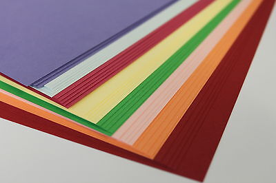 'A5, A4 OR A3' 80gsm OR 160gsm SMOOTH ASSORTED COLOURED PAPER OR CARD. 40 SHEETS