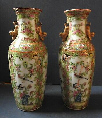Pair Of Chinese Canton / Rose Medallion Porcelain Vases - 19Th Century