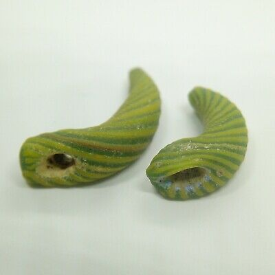 Bead Glass Zoomorphic  Snake 2pc. 500-100BC. Scythian Roman Celtic Amulet