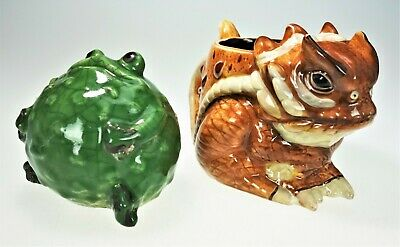 Horned Lizard Horny Toad Cup & Frog Figurine 2 Piece Ceramic Set Mug Shelf Decor