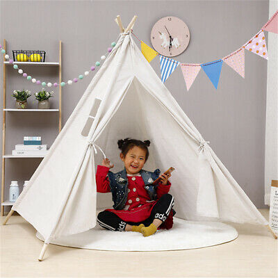 Large Cotton Wood Kids Teepee Tent Childrens Wigwam Indoor Outdoor Play House