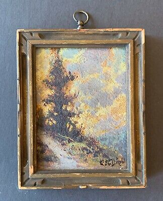 ANTIQUE old signed miniature framed Mountain landscape oil painting