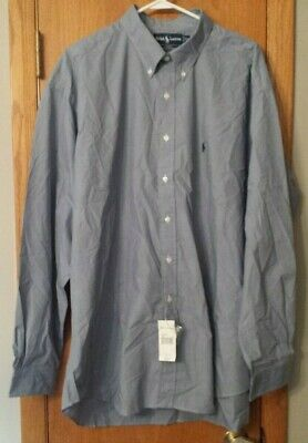 Mens Shirt by Ralph Lauren Blake Small Check Blue White Button Front Long Sleeve