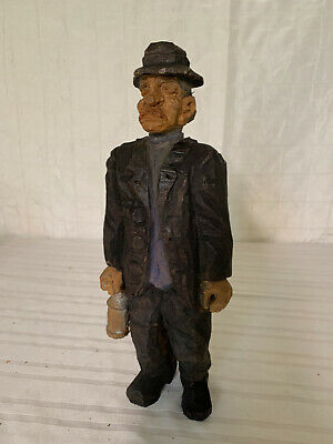 Vintage Swedish Folk Art Wood Carved Figurine - Railroad Man - TRYGG style