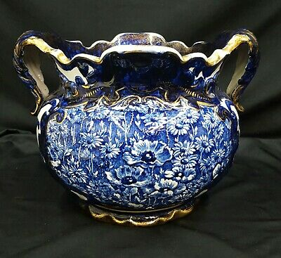 1800's Large Victorian Style Etruria Jardiniere Scalloped Top Planter Bowl