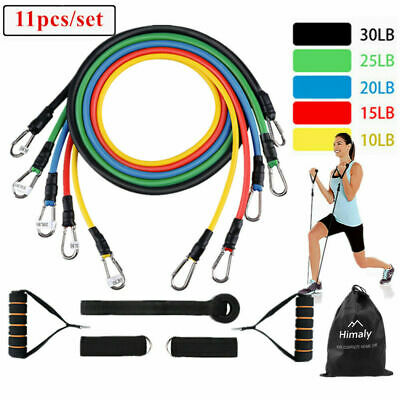 11pcs Fitness Resistance Bands Gym Kit Tubes with Handle Door Anchor Ankle Strap