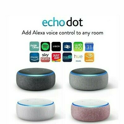Amazon Echo Dot 3rd Generation Smart Speaker With Alexa, Black, White, Grey