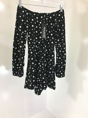 Boohoo Women's Stacy Star Print Off The Shoulder Playsuit Black/White Uk:8/Us:4