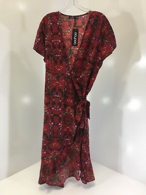 Boohoo Women's Selena Floral Frill Fem Tea Dress Crimson/Multi Uk20/Us16 Nwt