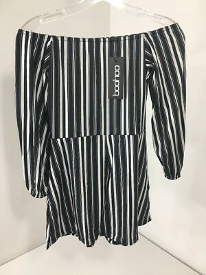 Boohoo Women's Laura Striped Off The Shoulder Playsuit Black/White Uk10/Us6 Nwt