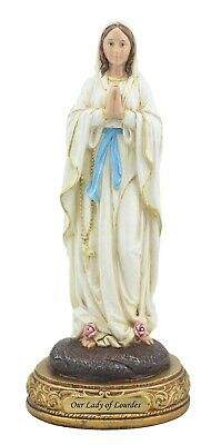 Colored Blessed Mother in figurine with Rosary; praying Mary figurine with olive wood rosary and certificate from the Holy Land