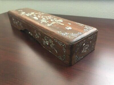 Antique Chinese Mother of Pearl Inlaid Incense Sticks Wooden Box