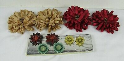 Vintage 6 Metal Floral Push Pins Curtain Tie Backs + 4 Large magnetic decorative