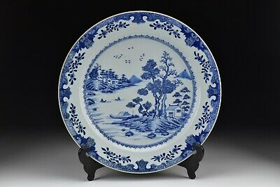 Chinese Kangxi Period Blue and White Porcelain Charger w/ Scenic View