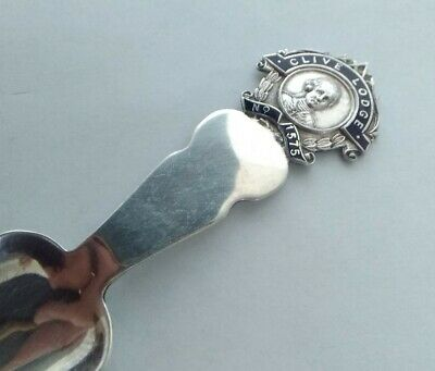 Vintage Silver Plated Masonic Lodge Tea Caddy Spoon With Enamelled Handle