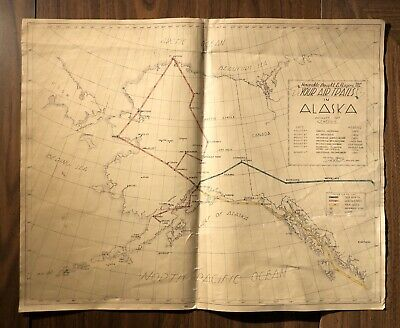Rare! 1947 Map Of Alaska Anchorage Fairbanks Airport Foreign Interstate Commerce