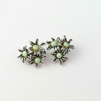 Vintage mid century 1950s faux turquoise silver tone clip earrings