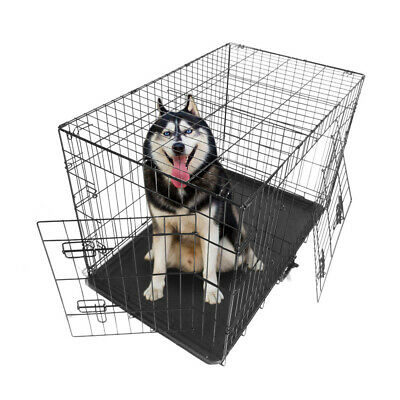 """36""""Metal Folding Cage Pet Pig Dog Cat Enclosure Kennel With Plastic Tray Divider"""