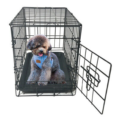 """20"""" Metal Folding Wire Cage Pet Pig Dog Cat Enclosure Kennel With Plastic Tray"""