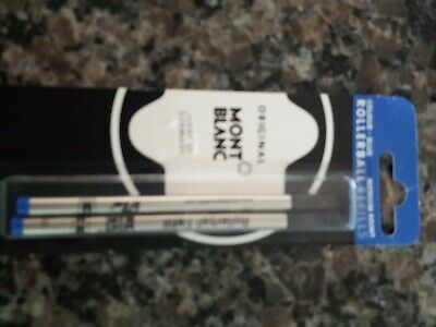 Mont Blanc BLUE rollerball refills pack of 2  medium point new in package