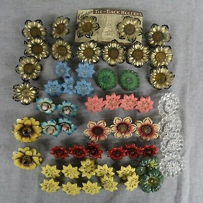 54 Vintage Metal Flowers Floral Curtain Tie Backs Push Pins Holders