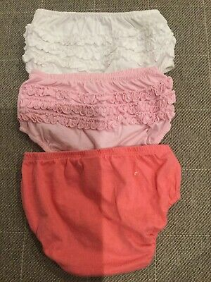 Little Girls 3 Pairs Frilly Bum Knickers Bloomers 12-18 Months Pink White Bundle