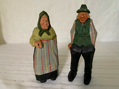 Two Vintage Swedish Wood Carved Figurines by Gunnarsson- TRYGG style
