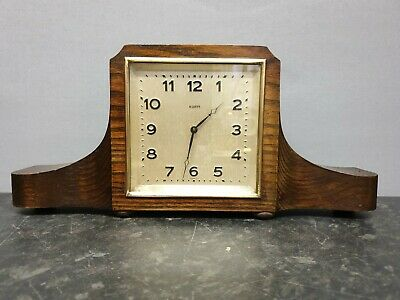 Vintage Square Faced 8 Day Mantle Clock with Balance Wheel Escapement